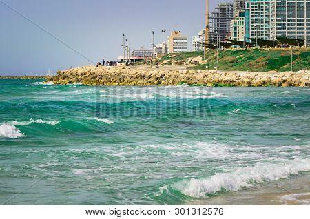 Tel Aviv, Israel - April 23, 2017: View From The Shore Of The Mediterranean Sea On Old Jaffa, Tel Av