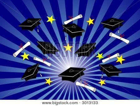 Graduation Caps Blue Radial