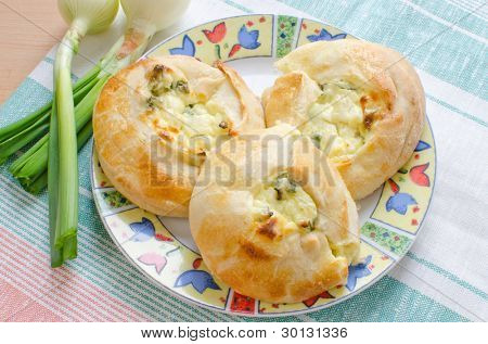 Knishes with farmer cheese and scallions - Jewish pastry