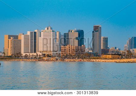 View In The Evening Of The Modern Tel Aviv, Israel And The Sea
