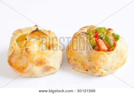 Knishes with vegetables and potato/onion - Jewish pastry