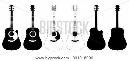 A Set Of Acoustic Classic Guitars Of Black On White Background. String Musical Instruments