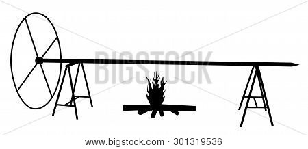 Extra Large Spit Roast On Open Fire
