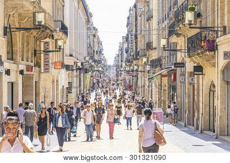 Bordeaux, France - June 14, 2017: People Walk On Rue Sainte-catherine In Center Of Bordeaux City. Th