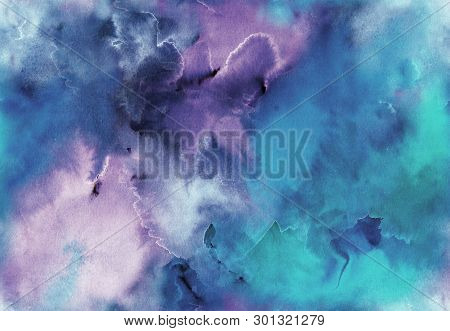 poster of Hand painted Watercolor bright seamless pattern with abstract sky, galaxy, cosmos and luminescence. Texture for textiles, packaging, greeting cards, scrapbooking.