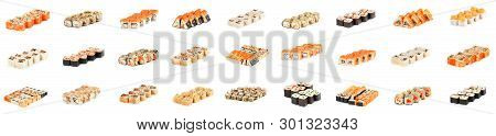 Sushi Roll - Maki Sushi Pieces Collection With Salmon Roe, Smoked Eel, Cucumber, Cream Cheese, Sesam