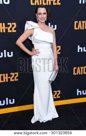 LOS ANGELES - MAY 07:  Julie Ann Emery arrives for the Hulu's 'Catch-22' US. Premiere on May 07, 2019 in Hollywood, CA