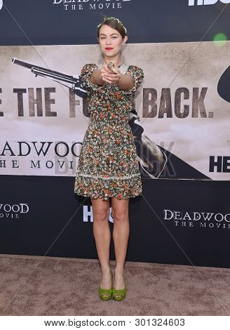LOS ANGELES - MAY 14:  Elvy Yost arrives for the HBO's 'Deadwood' Premiere on May 14, 2019 in Hollywood, CA