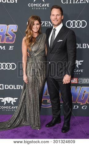 LOS ANGELES - APR 22:  Katherine Schwarzenegger and Chris Pratt arrives for the