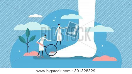 Podiatrist Vector Illustration. Flat Tiny Foot, Ankle And Lower Extremity Disease Persons Concept. F