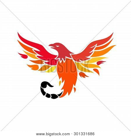 Icon Retro Style Illustration Of A Mythical Phoenix Or Firebird Of Greek Mythology With A Tail Of A
