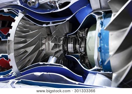 Engine Of Fighter Jet, Cross-section, Blades, Bearings And Other Hardware And Equipment, Army Aviati