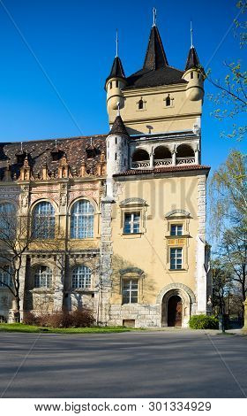 Vajdahunyad Castle, Corner Tower, City Park In Budapest, Hungary