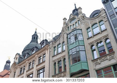 Leipzig, Germany - October 2018: Old Style Buildings In Central Business District And City Square Ne