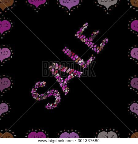 Weekend Sale Banner Template. Illustration On Black, Magenta And Pink Colors. Seamless. Vector Illus