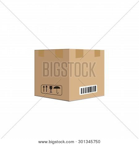 Carton Box Container Vector Illustration, Cardboard Box Pack With Handling Packing Icons, Text Stick