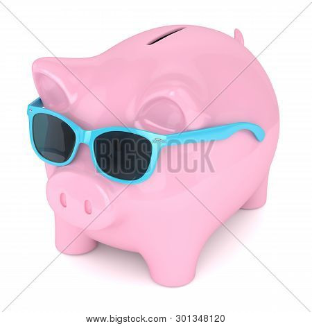 3d Render Of Piggy Bank With Sunglasses Over White Background