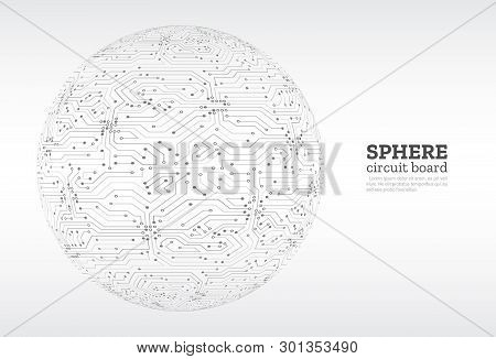 High-tech Technology Background Texture. Sphere Circuit Board Vector Illustration. Electronic Mother