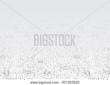 Abstract 3d Blue Circuit Board. High-tech Technology Abstract Background. Futuristic Vector Illustra