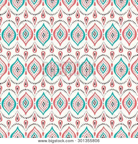 Colorful Coral And Aqua Small Scale Lace Pattern With Diamonds And Dots. Classic Elegant Vector Seam