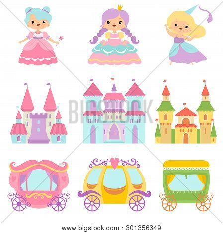 Collection Of Cute Little Princesses, Magic Castles, Fairy Tale Carriages, Fantasy Kingdoms Cartoon