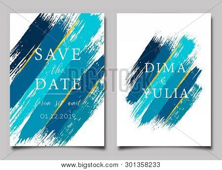 Wedding Invitation Or Anniversary Card Templates With Brush Strokes. Creative Greeting Card Design V