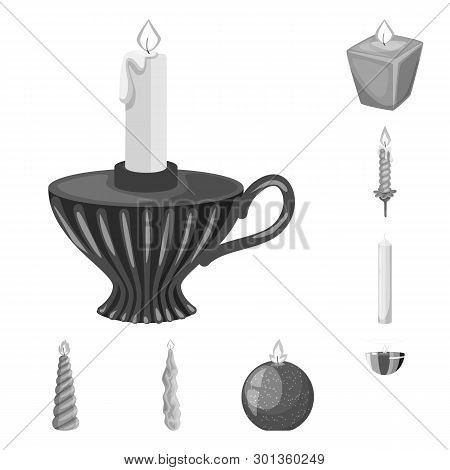 Vector Illustration Of Paraffin And Fire  Icon. Collection Of Paraffin And Decoration    Stock Vecto