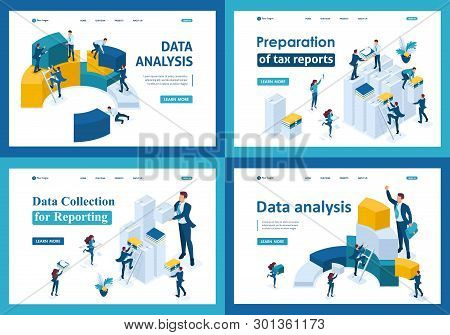 Set of landing pages in isometric concept. Data collection and reporting for tax forms. poster