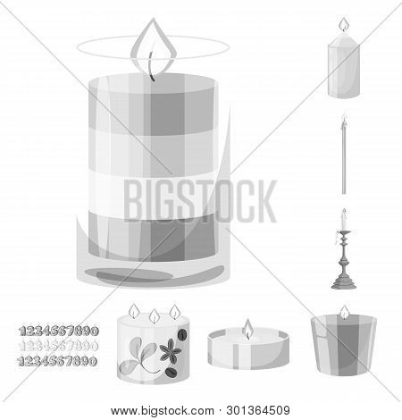Vector Illustration Of Paraffin And Fire  Symbol. Set Of Paraffin And Decoration    Stock Vector Ill