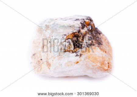 Macro Mineral Stone Petalite On A White Background