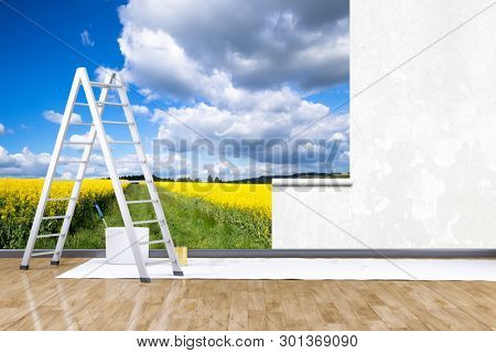 3d render of redecorate a room with a photo mural rape field