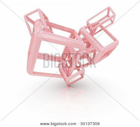 Modern abstract sculpture. Isolated on white background.3d rendered. poster