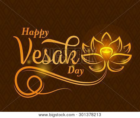 Happy Vesak Day Banner With Abstract Gold Lotus Flower Sign And Typography Text On Brown Texture Bac