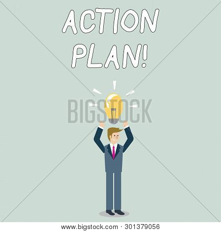 Word Writing Text Action Plan. Business Concept For Proposed Strategy Or Course Of Actions For Certa