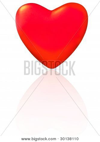 A Single Red Heart With Reflection.