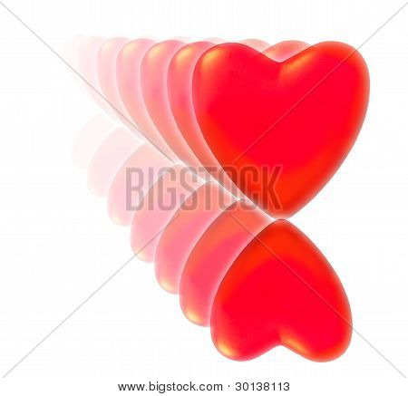 A Series Of Fading Decreasing Red Hearts With Reflection.