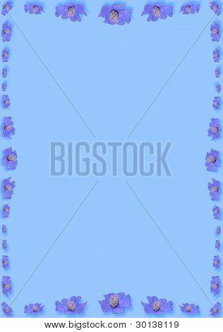 Blue Frame Is Made Of Blue  Liverwort Flowers.