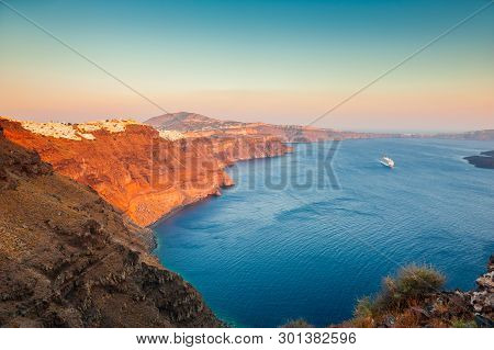 Beautiful Sunset On Santorini Island, Greece. Famous Travel Destination. Summer Landscape, Sea View