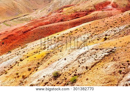 Colorful Mountains In Kyzyl-chin Valley, Also Called As Mars Valley. Altai, Siberia, Russia