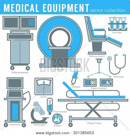 Medicine And Healthcare Medical Equipment Tools And Technology Isolated Objects Vector Mri And Gurne