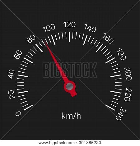 Realistic Illustration Of Speedometer With Red Hand And White Numbers With Kilometers Per Hour. Isol