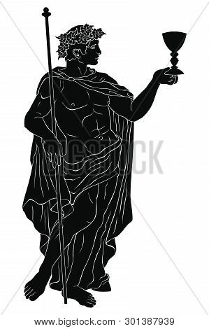 The Ancient Greek God Dionysus With A Glass And A Rod. Vector Image Isolated On White Background.