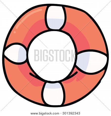 Cute Lifebuoy Cartoon Vector Illustration Motif Set. Hand Drawn Isolated Lifering Elements Clipart F