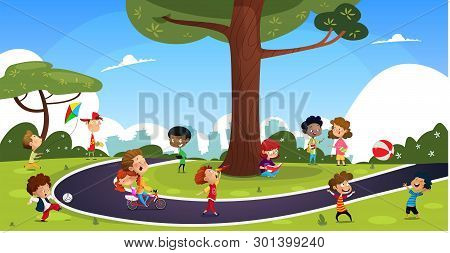 Many Cartoon Children Play In The Summer Park. Illustration Of Happy Kids Playing In Playground.vect