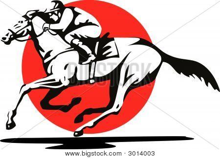 Jinete y caballo de lado