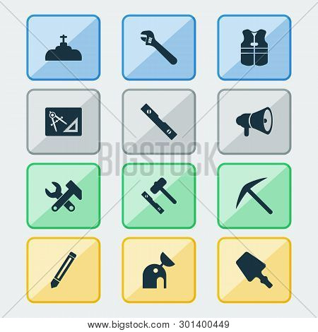 Industry Icons Set With Set For Laying Tiles, Pencil, Conversation Level And Other Industrial Elemen