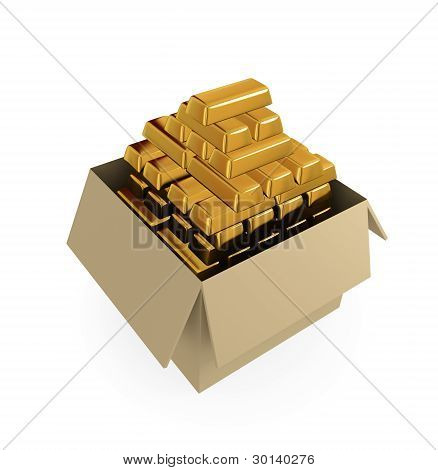 Goldbars in a cardboard box. 3d rendered. Isolated on white background. poster