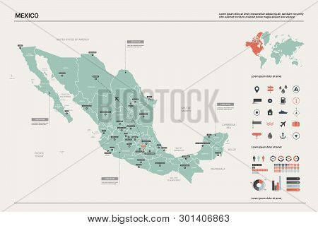 Vector Map Of Mexico. Country Map With Division, Cities And Capital. Political Map,  World Map, Info