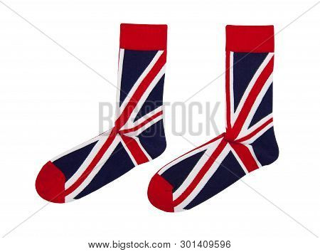 Two Socks With British Flag Pattern Isolated In The White Background