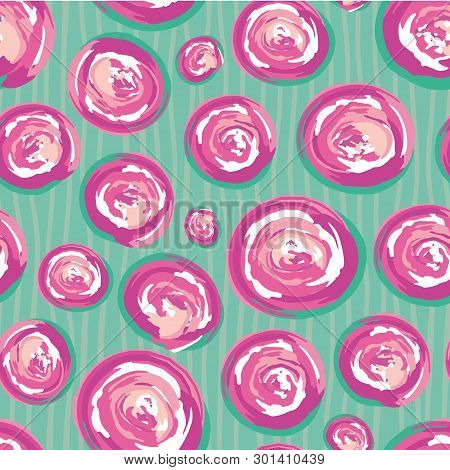 Contemporary Hand Drawn Pink And White Painted Swirly Circles. Vector Seamless Pattern On Subtly Doo